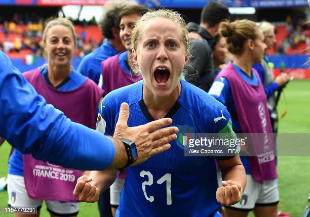 Valentina Cernoia of Italy celebrates following victory in the 2019 FIFA Women's World Cup France group C match between Australia and Italy at Stade...