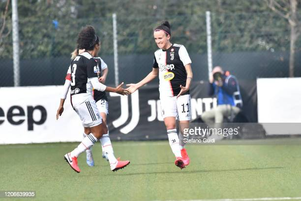 Valentina Cernoia of Juventus FC celebrates a goal during the Women Serie A match between Juventus and FC Internazionale on February 16, 2020 in...