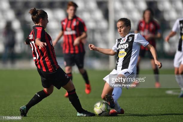 Valentina Cernoia of Juventus Women clashes with Linda Tucceri Cimini of AC Milan during the Women Serie A match between Juventus Women and AC Milan...
