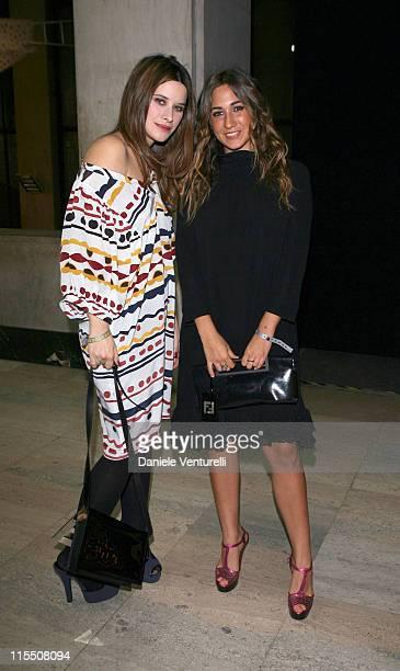 Valentina Cervi and Delfina Fendi during Loris Cecchini Exhibition Fendi Party at Palais de Tokyo in Paris France