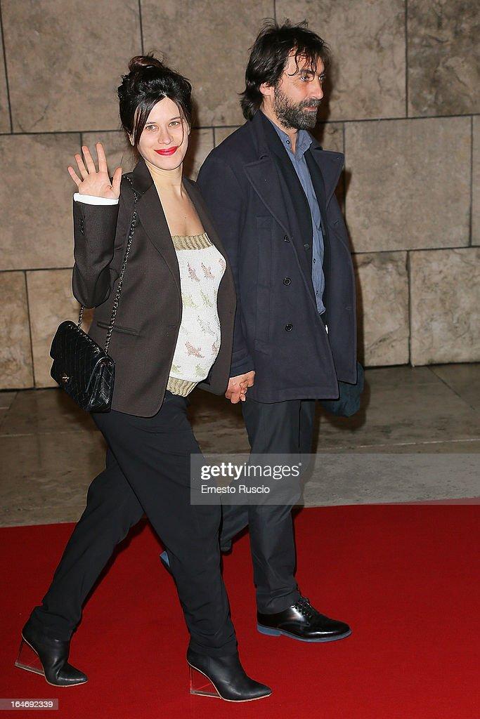 Valentina Cervi and Stefano Mordini attend the 'Viaggio Sola' premiere at Ara Pacis on March 26, 2013 in Rome, Italy.