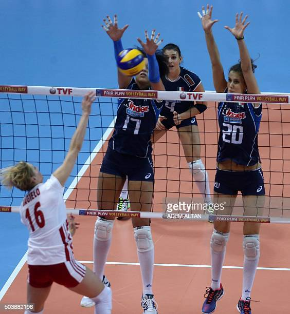 Valentina Douf and Anna Danesi of Italy vie with Aleksandra Jagielo of Poland during their European Olympic Qualification Tournament Rio 2016 match...
