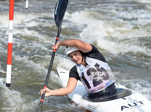 Valentina Dreier from Austria during the 1st Round Run in K1 Kayak Women Junior at the 2015 ECA Canoe Slalom U23 European Championship in Krakow...