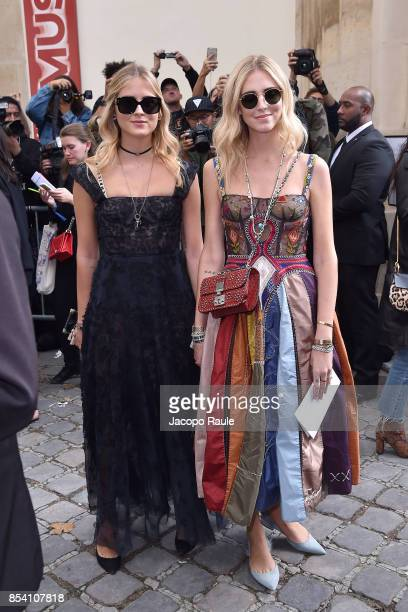 Valentina Ferragni and Chiara Ferragni are seen arriving at Dior fashion show during Paris Fashion Week Womenswear Spring/Summer 2018 on September...