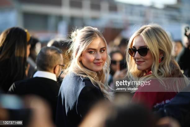 Valentina Ferragni and Chiara Ferragni are seen before the Alberta Ferretti show during Milan Fashion Week Fall/Winter 2020-2021 on February 19, 2020...