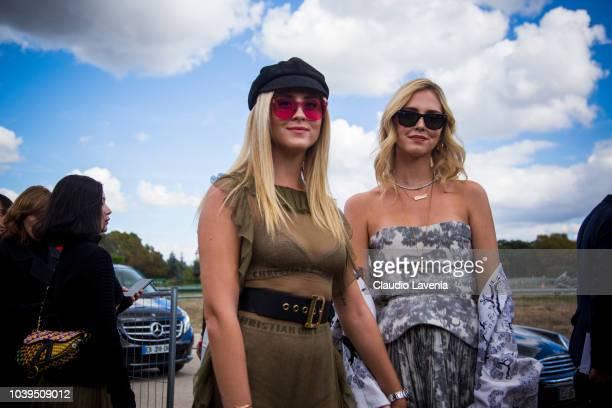 Valentina Ferragni and Chiara Ferragni are seen before the Christian Dior show on September 24 2018 in Paris France