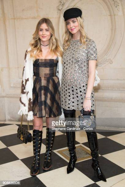Valentina Ferragni and Chiara Ferragni attend the Christian Dior Haute Couture Spring Summer 2018 show as part of Paris Fashion Week January 22 2018...