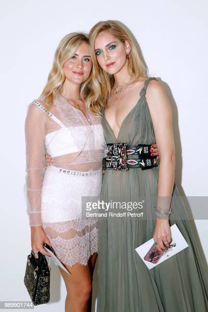 Valentina Ferragni and Chiara Ferragni attend the Christian Dior Haute Couture Fall Winter 2018/2019 show as part of Paris Fashion Week on July 2...