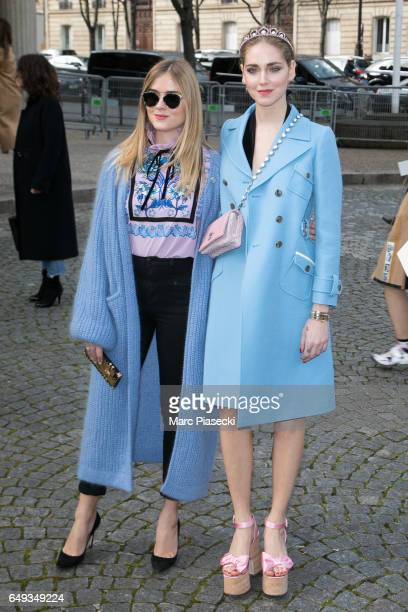 Valentina Ferragni and Chiara Ferragni attend the Miu Miu show as part of the Paris Fashion Week Womenswear Fall/Winter 2017/2018 on March 7 2017 in...