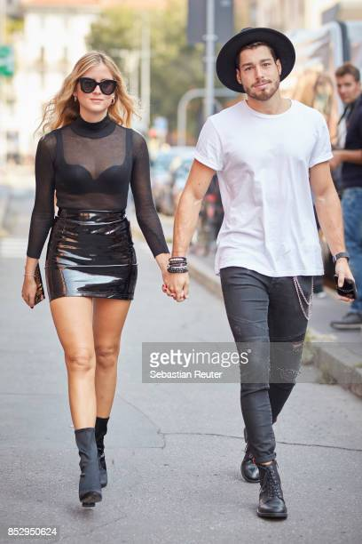 Valentina Ferragni and her boyfriend Luca Vezil are seen during Milan Fashion Week Spring/Summer 2018 on September 24 2017 in Milan Italy