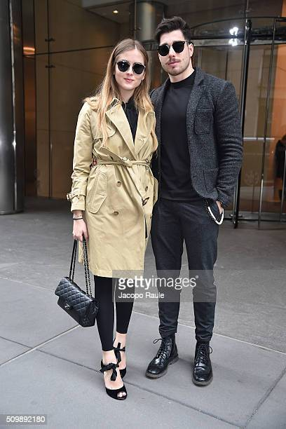 Valentina Ferragni and Luca Vezil are seen arriving at Polo Ralph Lauren presentation during Fall 2016 New York Fashion Week on February 12 2016 in...