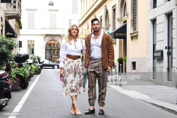 Valentina Ferragni and Luca Vezil are seen arriving at the Four Season Hotel ahead of the Etro Fashion Show on July 15 2020 in Milan Italy