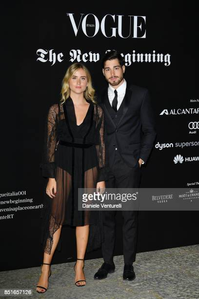 Valentina Ferragni and Luca Vezil attends the Vogue Italia 'The New Beginning' Party during Milan Fashion Week Spring/Summer 2018 on September 22...