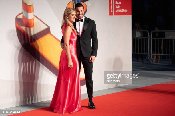 Valentina Ferragni and Luca Vezil walk the red carpet ahead of the ''Chiara Ferragni Unposted'' screening during the 76th Venice Film Festival at...