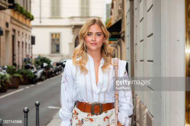 Valentina Ferragni attends the Etro fashion show during Milan Digital Fashion Week on July 15 2020 in Milan Italy