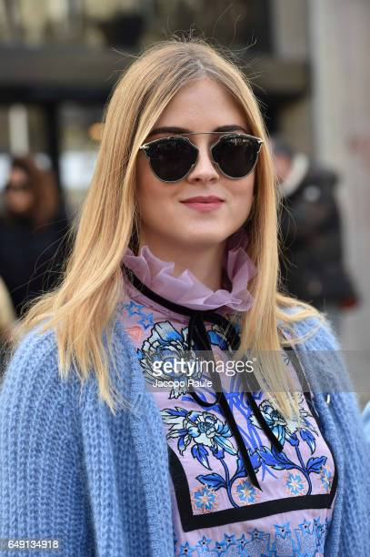Valentina Ferragni is seen arriving at Miu Miu fashion show during the Paris Fashion Week Womenswear Fall/Winter 2017/2018 on March 7 2017 in Paris...