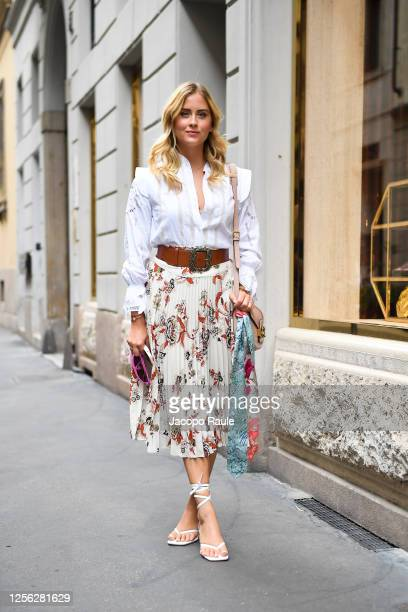 Valentina Ferragni is seen arriving at the Four Season Hotel ahead of the Etro Fashion Show on July 15 2020 in Milan Italy