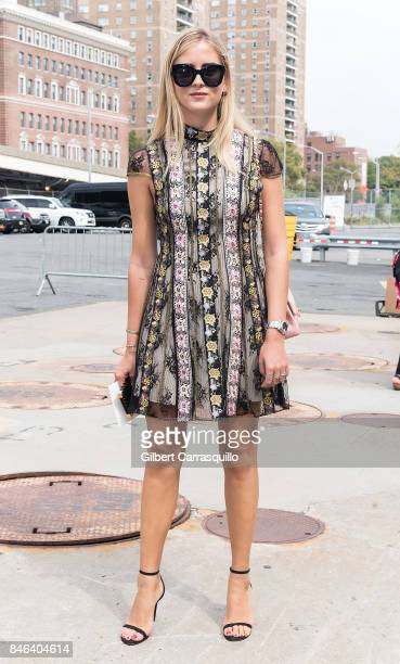Valentina Ferragni is seen arriving to Coach Spring 2018 fashion show during New York Fashion Week at Basketball City Pier 36 South Street on...