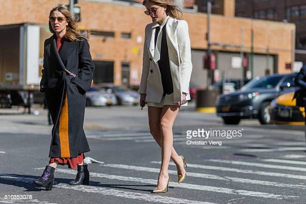 Valentina Ferragni is wearing golden heels and white blazer seen outside Rebecca Minkoff during New York Fashion Week Women's Fall/Winter 2016 on...