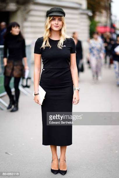 Valentina Ferragni wears a black beret hat a black dress outside Lanvin during Paris Fashion Week Womenswear Spring/Summer 2018 on September 27 2017...