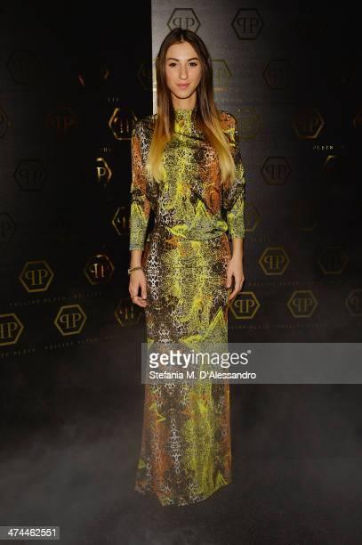 Valentina Fradegrada attends the Philipp Plein show as part of Milan Fashion Week Womenswear Autumn/Winter 2014 on February 23 2014 in Milan Italy