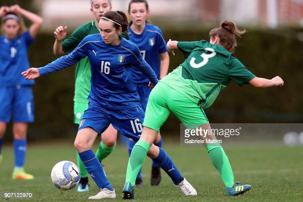 Valentina Gallazzi of Italy U16 women in action against Selma Sabotic of Slovenia U16 women during the U16 Women friendly match between Italy U16 and...