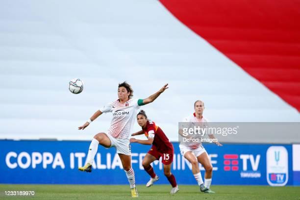 Valentina Giacinti of AC Milan controls the ball during the Women's Coppa Italia Final match between AS Roma and AC Milan at Mapei Stadium - Città...