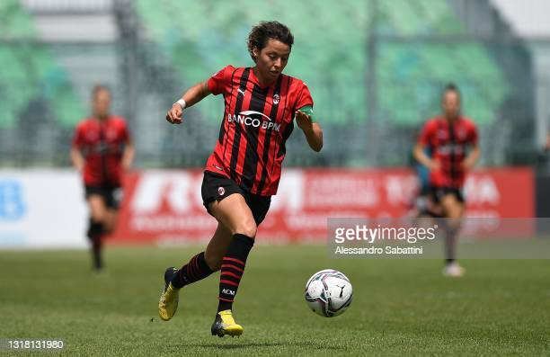 Valentina Giacinti of AC MIlan in action during the Women Serie A match between US Sassuolo and AC Milan at Enzo Ricci Stadium on May 15, 2021 in...