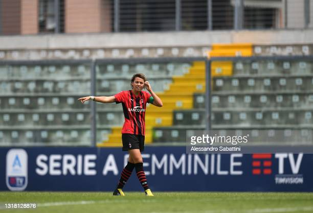 Valentina Giacinti of AC MIlan looks on during the Women Serie A match between US Sassuolo and AC Milan at Enzo Ricci Stadium on May 15, 2021 in...