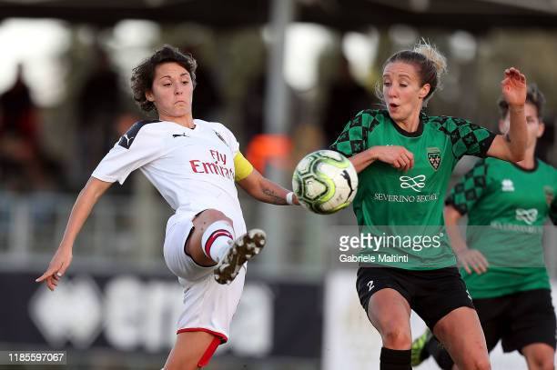 Valentina Giacinti of AC Milan Women in action during the Women Serie A match between Florentia and AC Milan on November 30 2019 in Florence Italy
