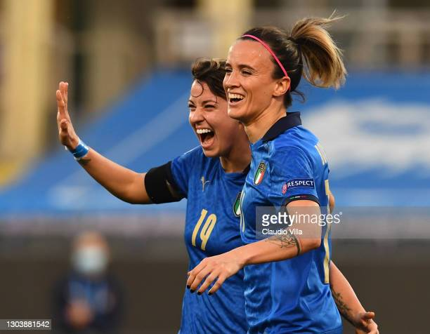 Valentina Giacinti of Italy celebrates after scoring the third goal during the UEFA Women's EURO 2022 Qualifier match between Italy and Israel at...