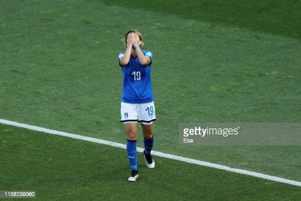 Valentina Giacinti of Italy reacts after her goal is disallowed for being offside during the 2019 FIFA Women's World Cup France Round Of 16 match...