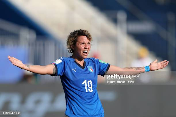 Valentina Giacinti of Italy reacts during the 2019 FIFA Women's World Cup France Round Of 16 match between Italy and China at Stade de la Mosson on...
