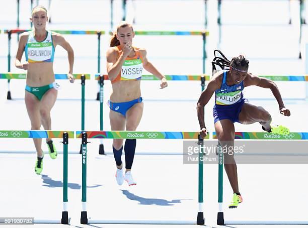 Valentina Kibalnikova of Uzbekistan Nadine Visser of the Netherlands and Brianna Rollins of the United States competes in the Women's 100m Hurdles...