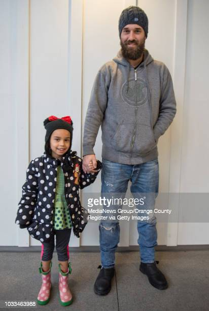 Valentina Mann is decked out in dots as she hangs out with her dad at Pacific City in Huntington Beach on Wednesday December 21 2016 She wears a...