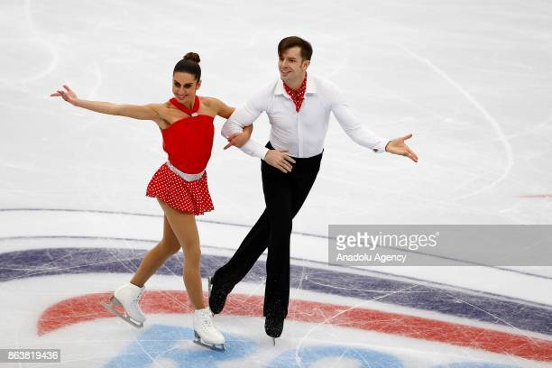 Valentina Marchei and Andrej Hotorek of Italy perform during the Pairs Short event on the first day of the ISU GP Rostelecom Cup 2017 at the...