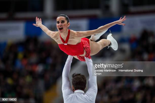 Valentina Marchei and Ondrej Hotarek of Italy compete in the Pairs Short Program during day one of the European Figure Skating Championships at...