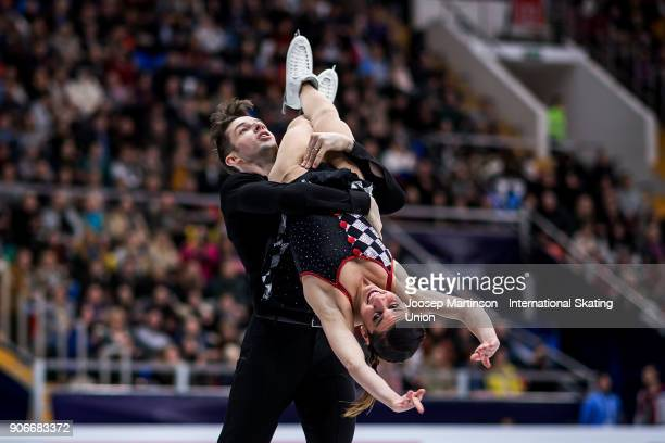 Valentina Marchei and Ondrej Hotarek of Italy compete in the Pairs Free Skating during day two of the European Figure Skating Championships at...