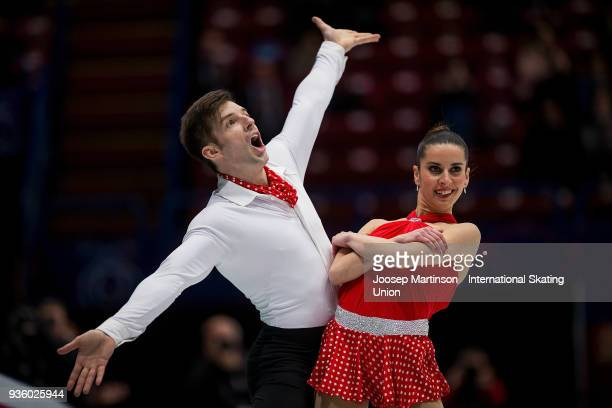 Valentina Marchei and Ondrej Hotarek of Italy compete in the Pairs Short Program during day one of the World Figure Skating Championships at...