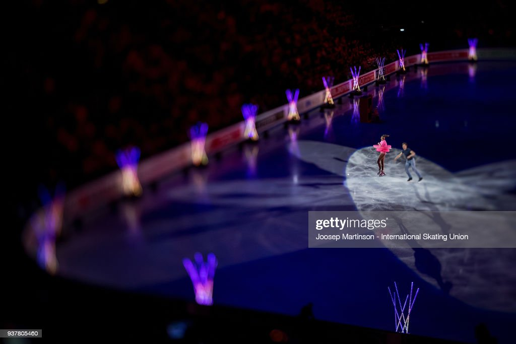 Valentina Marchei and Ondrej Hotarek of Italy perform in the Gala Exhibition during day five of the World Figure Skating Championships at Mediolanum Forum on March 25, 2018 in Milan, Italy.