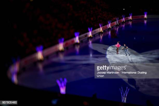 Valentina Marchei and Ondrej Hotarek of Italy perform in the Gala Exhibition during day five of the World Figure Skating Championships at Mediolanum...