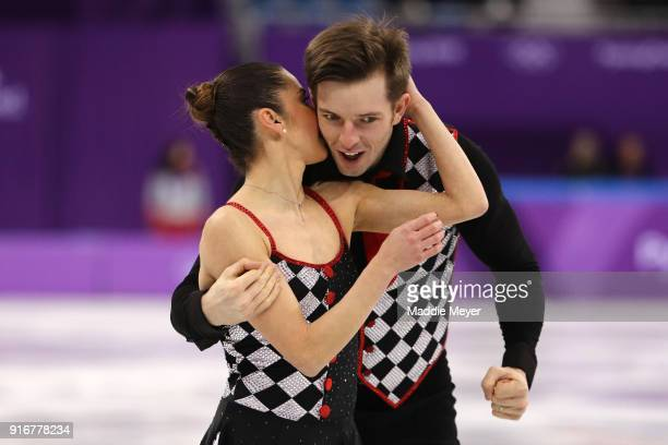 Valentina Marchei and Ondrej Hotarek of Italy react after competing in the Figure Skating Team Event – Pairs Free Skating on day two of the...