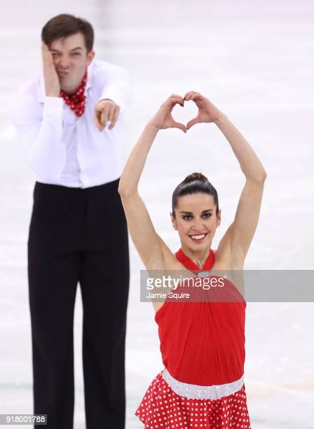 Valentina Marchei and Ondrej Hotarek of Italy react after their program during the Pair Skating Short Program on day five of the PyeongChang 2018...