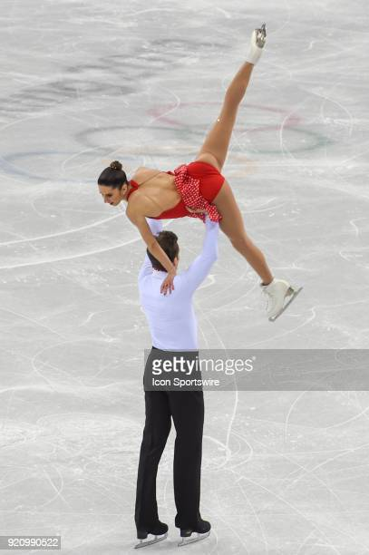 Valentina Marchei and Ondrej Hotarek perform during the Pairs Short Program during the 2018 Winter Olympic Games at Gangneung Ice Arena on February...
