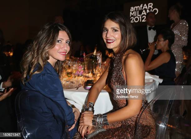 Valentina Micchetti and Margherita Missoni attends the amfAR Milano 2012 Dinner during Milan Fashion Week at La Permanente on September 22 2012 in...