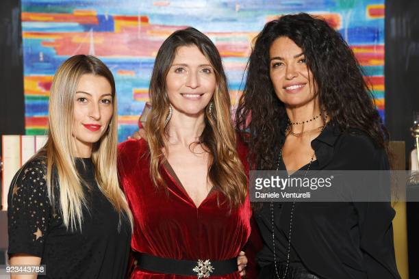 Valentina Micchetti Perla Alessandri and Afef Jnifen are seen at the Alevi' presentation during Milan Fashion Week Fall/Winter 2018/19 on February 23...