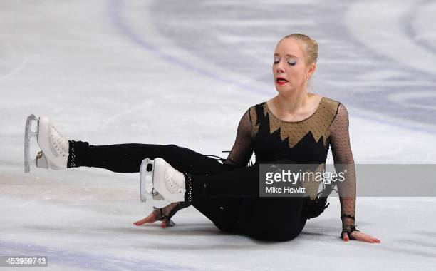 Valentina Mikac of Croatia stumbles in the Ladies Short Program during Day Two of the ISU 46th Golden Spin of Zagreb at the Dom Sportova on December...