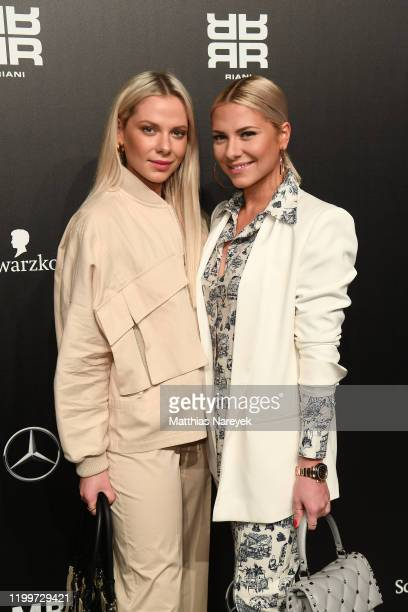 Valentina Pahde and Cheyenne Pahde attend the Riani show during Berlin Fashion Week Autumn/Winter 2020 at Kraftwerk Mitte on January 15 2020 in...