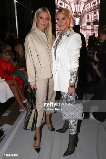 Valentina Pahde and Cheyenne Pahde attend the Riani show during Berlin Fashion Week Autumn/Winter 2020 at Kraftwerk Mitte on January 15, 2020 in...
