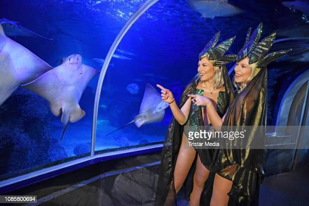Valentina Pahde and her twin sister Cheyenne Pahde during the 'Holiday on Ice Atlantis' photocall at Sea Life on January 21 2019 in Berlin Germany